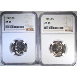 2-1946-S JEFFERSON NICKELS, NGC MS-66