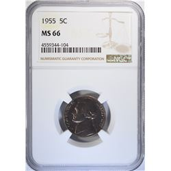 1955 JEFFERSON NICKEL, NGC MS-66