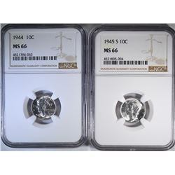 1944 & 45-S MERCURY DIMES, NGC MS-66