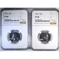 2-1957 WASHINGTON QUARTERS, NGC PF-68
