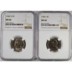 1942-D &1954 JEFFERSON NICKELS NGC MS-66