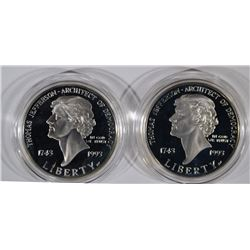 (2) 1993 Thomas Jefferson Proof Silver Dollars