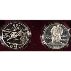 1995 ATLANTA OLYMPICS 2 pc SILVER DOLLAR