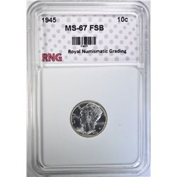 1945 MERCURY DIME RNG SUPERB GEM FSB