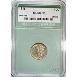 1916 MERCURY DIME NTC SUPERB GEM FB