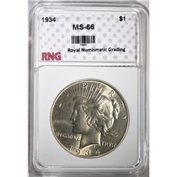 1934 PEACE DOLLAR RNG SUPERB GEM BU