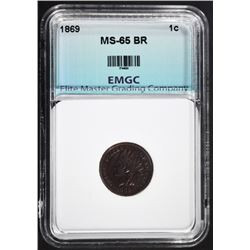 1869 INDIAN HEAD CENT, EMGC GEM BU BR