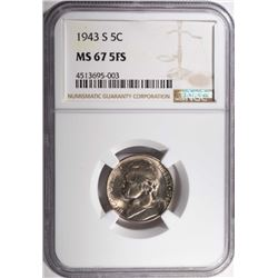 1943-S JEFFERSON NICKEL, NGC MS-67 FULL STEPS RARE