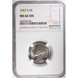 1947-S JEFFERSON NICKEL, NGC MS-66 FULL STEPS RARE