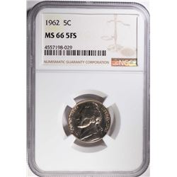 1962 JEFFERSON NICKEL, NGC MS-66 FULL STEPS RARE!!
