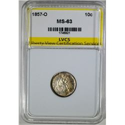 1857-O SEATED LIBERTY DIME, LVCS CHOICE BU