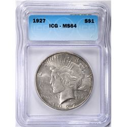 1927 PEACE DOLLAR, ICG MS-64