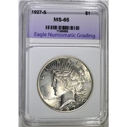 1927-S PEACE DOLLAR ENG GEM BU