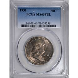 1951 FRANKLIN HALF DOLLAR, PCGS MS-66 FBL