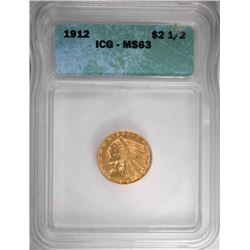 1912 $2.50 GOLD INDIAN, ICG MS-63 -SCARCE!
