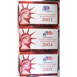 3 - U.S. SILVER PROOF SETS; 2003, 2004,