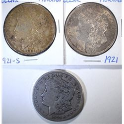 3 - MORGAN DOLLARS; 2 - 1921-S CIRCS
