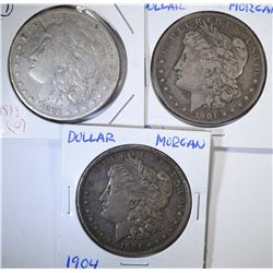 3 - MORGAN DOLLARS; 1904, 1901-O