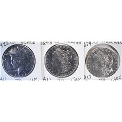 3 - SILVER DOLLARS; 1879-O, 1898-S MORGAN