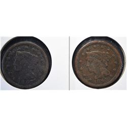 2 - LARGE CENTS; 1847 & 1848