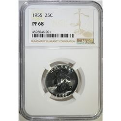 1955 WASHINGTON QTR NGC PF68