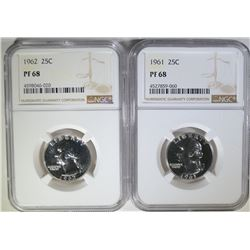 1961 & 1962 WASHINGTON QTR NGC PF68