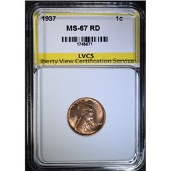 1937 LINCOLN CENT, LVCS SUPERB GEM BU RED