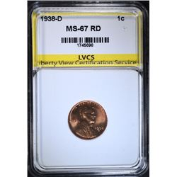 1938-D LINCOLN CENT, LVCS SUPERB GEM BU RED