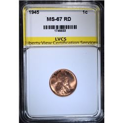 1945 LINCOLN CENT, LVCS SUPERB GEM BU RED