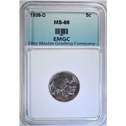 1938-D BUFFALO NICKEL, EMGC SUPERB GEM BU