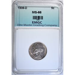 1939-D JEFFERSON NICKEL, EMGC SUPERB GEM BU