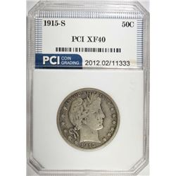 1915-S BARBER HALF DOLLAR, PCI XF