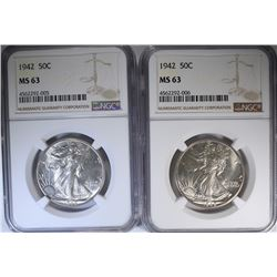 2-1942 WALKING LIBERTY HALF DOLLARS, NGC MS-63