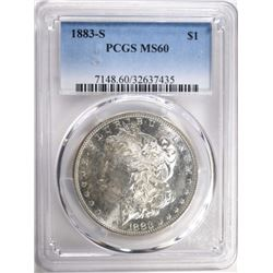 1883-S MORGAN DOLLAR PCGS MS60