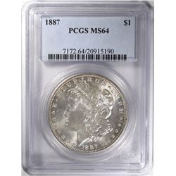 1887 MORGAN DOLLAR PCGS MS64