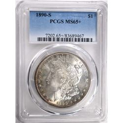 1890-S MORGAN DOLLAR PCGS MS65+