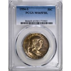 1954-S FRANKLIN HALF DOLLAR, PCGS MS-65 FBL