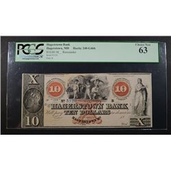 1800's $10 HAGERSTOWN BANK PCGS 63