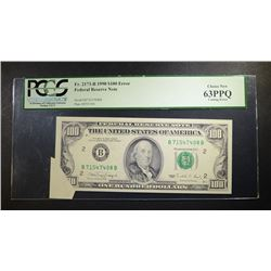 1990 $100. FEDERAL RESERVE NOTE PCGS 63PPQ
