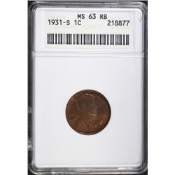 1931-S WHEAT CENT ANACS MS63 RB