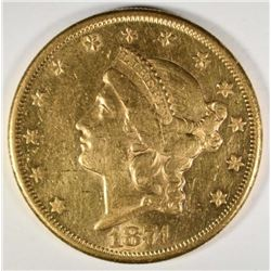 1874-CC $20 GOLD LIBERTY AU+