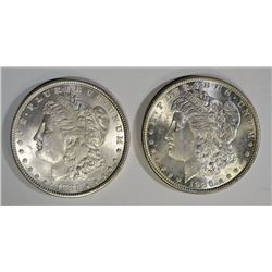 2 - CHOICE BU MORGAN DOLLARS; 1885 & 1886