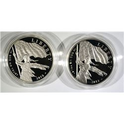 (2) 2012 Star Spangled Banner Proof Silver Dollar.