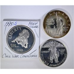 3 - SILVER PROOF COMMEMS; 1992 COLUMBUS