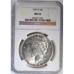 1923-S PEACE SILVER DOLLAR, NGC MS-63