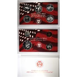 1999 U.S. SILVER PROOF SET IN ORIG BOX/COA