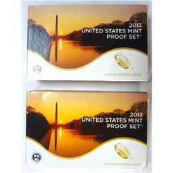 2- 2013 PROOF SETS IN ORIGINAL PACKAGING
