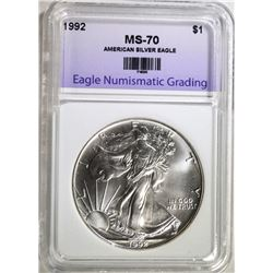 1992 AMERICAN SILVER EAGLE, ENG PERFECT GEM BU