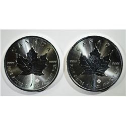 2-BU 2016 CANADA 1oz SILVER MAPLE LEAF COINS