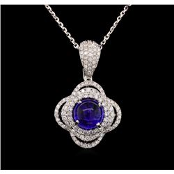 14KT White Gold 4.18 ctw Tanzanite and Diamond Pendant With Chain